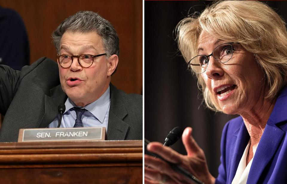 Senator Al Franken (left) and Betsy DeVos.