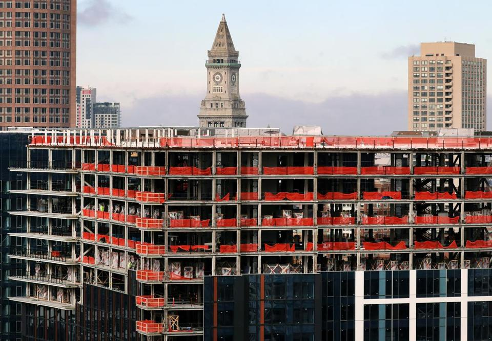 A pair of new apartment buildings are under construction at One Seaport Square. With 832 units, the complex is the largest residential development in Boston in more than 30 years.