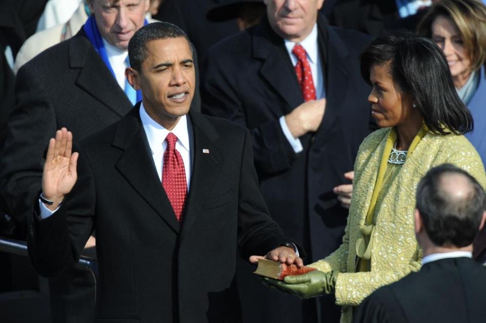 President Obama took the oath of office at his first inauguration.