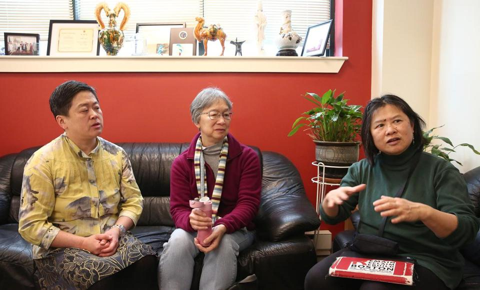 Carolyn Rubin (left), Stephanie Fan, and Lydia Lowe of Friends of the Chinatown Library discussed the proposals.