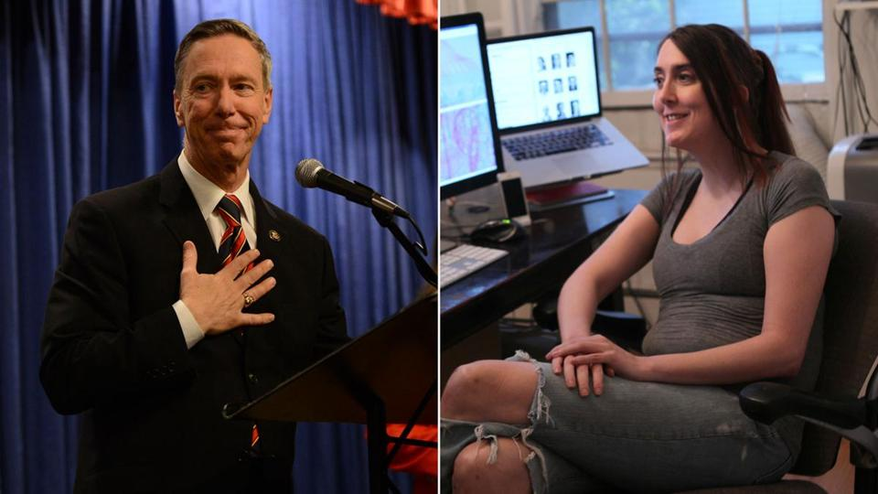 Congressman Stephen Lynch (left) will face a challenge by Brianna Wu (right) for his US House of Representatives seat.