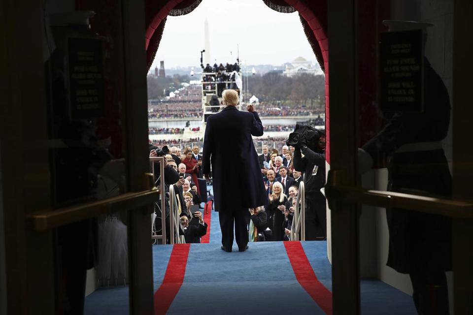 President-elect Donald Trump arrives on the West Front of the U.S. Capitol on Friday, Jan. 20, 2017, in Washington, for his inauguration (Win McNamee/Pool Photo via AP)
