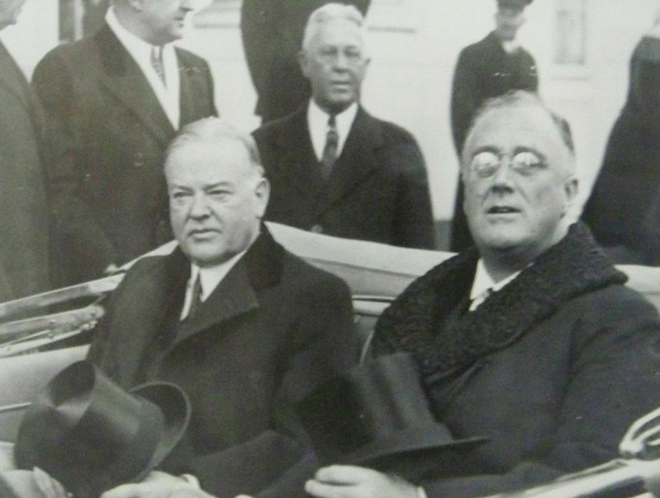 President-elect Franklin D. Roosevelt and outgoing President Hoover en route to the 1933 inauguration.