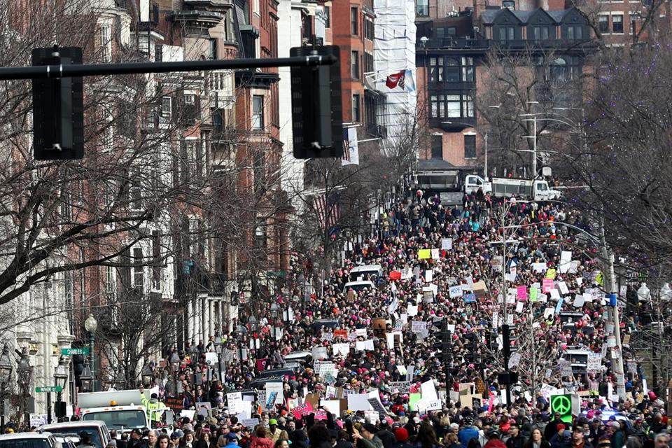 Demonstrators made their way down Beacon Street.