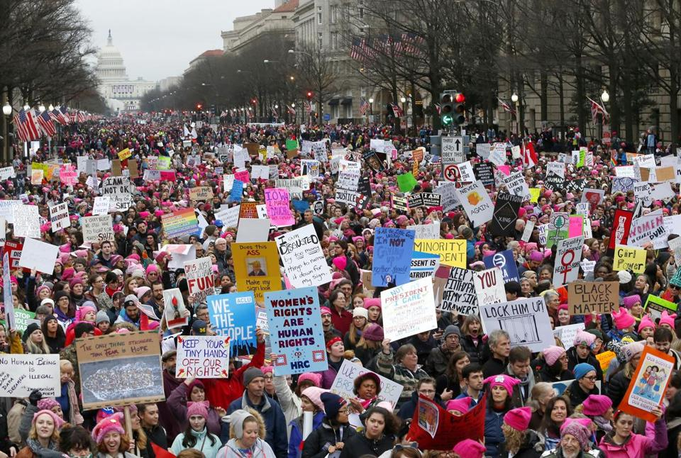 Protesters filled Pennsylvania Avenue during the 2017 Women's March.