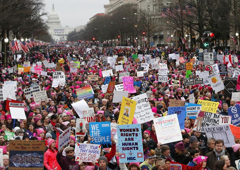 Washington, D.C. -- 1/21/2017 - Protesters fill Pennsylvania Avenue during a rally at the Women's March on Washington. (Jessica Rinaldi/Globe Staff) Topic: 22nationalmarch Reporter: