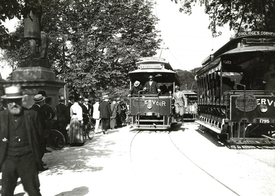 Opening Day for the Boston subway, at the Public Garden entrance, in September 1897.