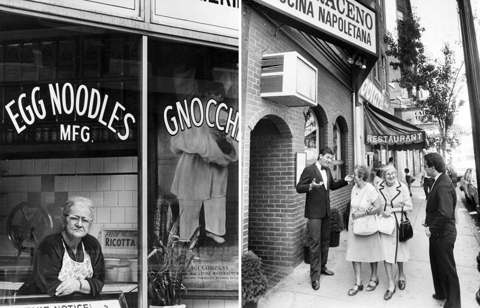 Amalia Biagi in the window of her pasta shop in 1968 (above left); off-duty waiters Maurizio Badolato and Anthony Pezzano speak to women on Hanover Street in 1985.
