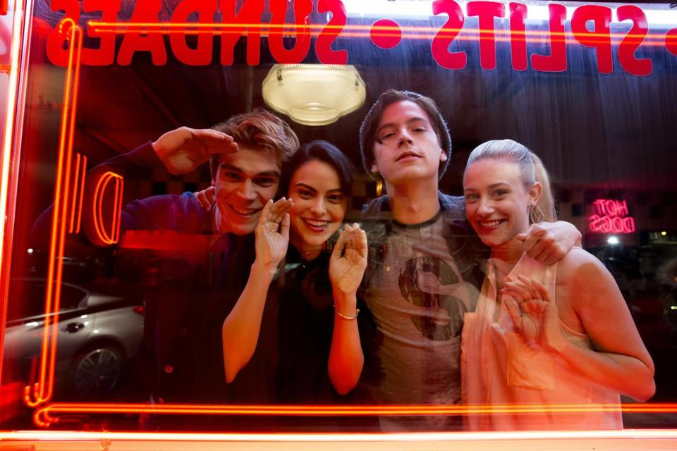 "From left: KJ Apa as Archie, Camila Mendes as Veronica, Cole Sprouse as Jughead, and Lili Reinhart as Betty in The CW's ""Riverdale."""
