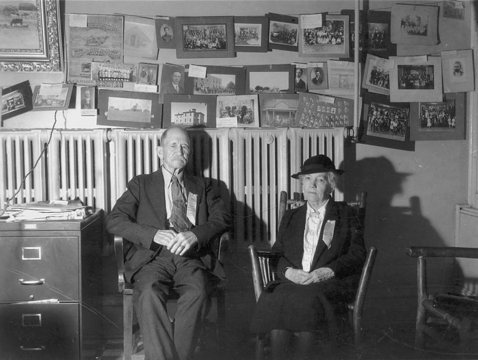 0811wilder - Almanzo and Laura Ingalls Wilder at DeSmet, SD (ca. post 1930 - based on the ribbon they were attending some sort of homesteading anniversary event) (Herbert Hoover Presiential Library Museum)