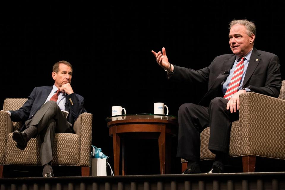 Senator Tim Kaine (right) with Alan Solomont, dean of the Tisch College of Civic Life at Tufts.