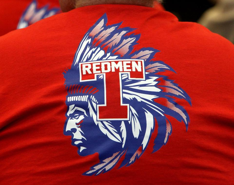 Tewksbury, MA: 01-27-2016: Redmen t-shirts were plentiful in the crowd at forum on whether Tewksbury Memorial High School's Redman mascot should remain at the high school in Tewksbury, Mass. January 27, 2016. Photo/John Blanding, Boston Globe staff story/Kathy McCabe ( 28tewksbury )