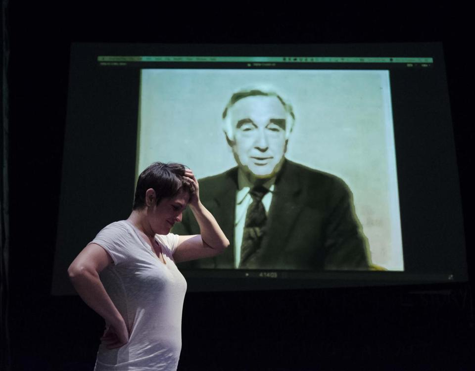 "Georgia Lyman (in front of an image of iconic CBS anchor Walter Cronkite) plays an unscrupulous journalist in ""The Atheist.''"