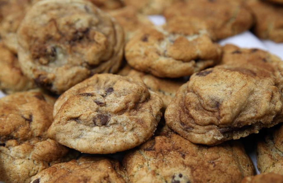 Collette Divitto's chocolate chip cookies, rolled in cinnamon sugar, at the Golden Goose Market.