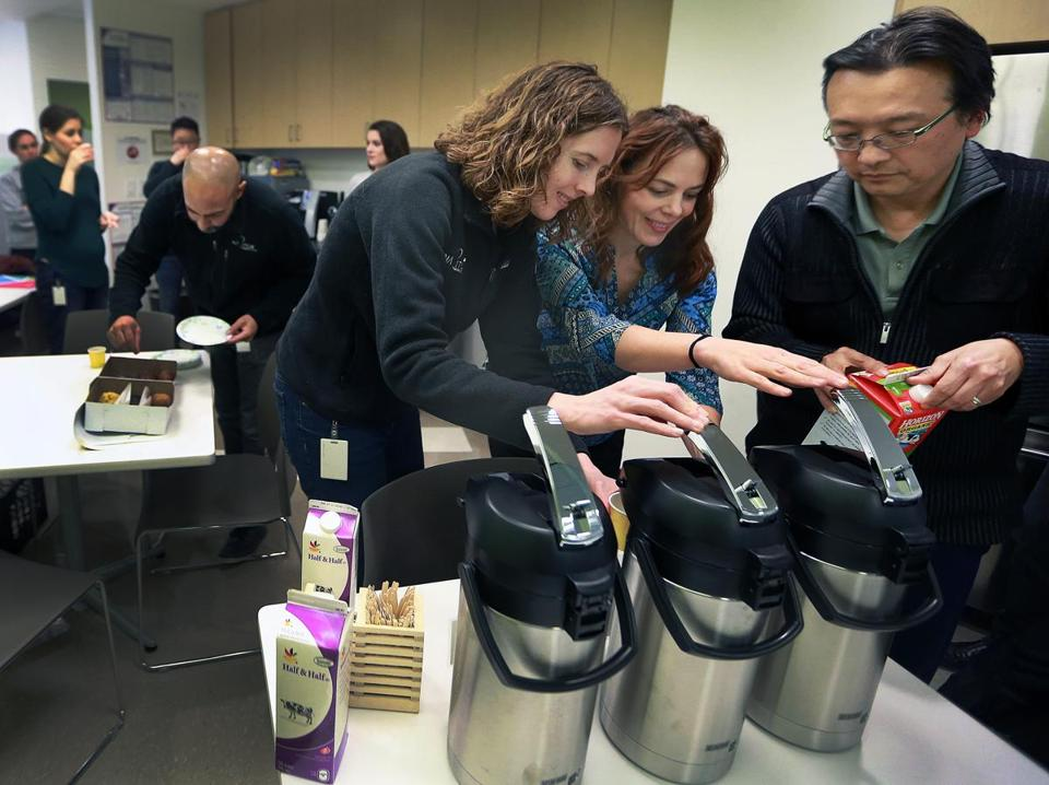 Workers tested samples of coffees from LeanBox at Navitor Pharmaceuticals in Cambridge. LeanBox offers hot- and cold-brew coffee options.