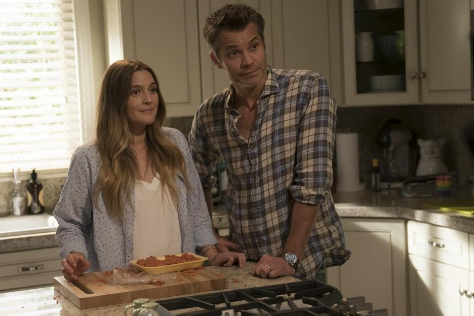 "Drew Barrymore and Timothy Olyphant in ""Santa Clarita Diet."""
