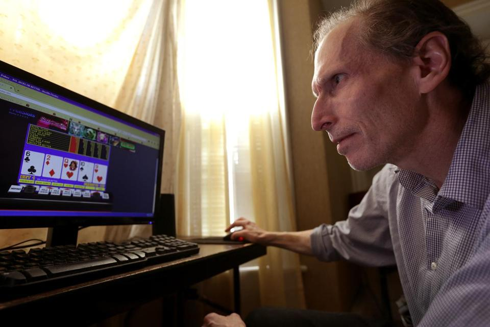 David Schreiber, a self-described problem gambler, likes to play poker on his home computer to relax. He has barred himself from Foxwoods, though he continues to go.