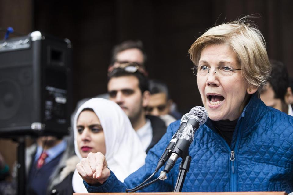 Boston, MA - 1/29/2017 - Senator Elizabeth Warren speaks during a protest against U.S. President Donald Trump's executive orders restricting immigrants from seven Muslim countries at Copley Square in Boston, MA, January 29, 2017. (Keith Bedford/Globe Staff)