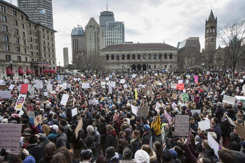 Thousands gathered in Copley Square on Sunday.