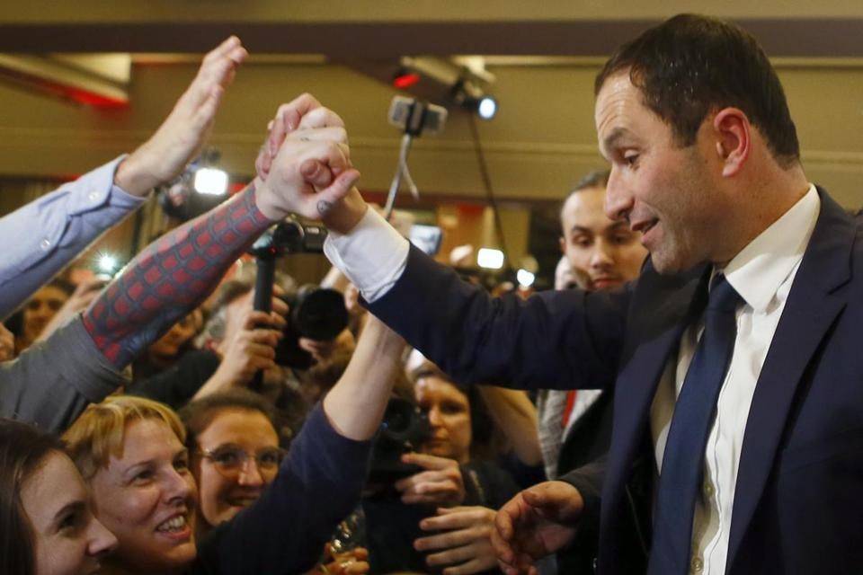Benoit Hamon greeted supporters in Paris Sunday after winning the Socialist Party's presidential nomination.