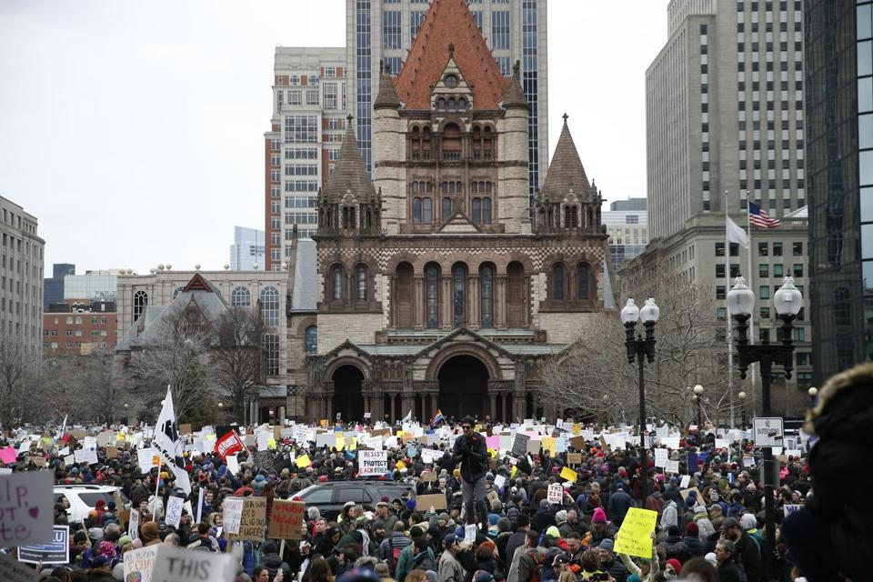 Boston, MA -- 1/29/2017 - People gather in Copley Square to protest Trump's executive order banning people from several predominantly Muslim countries from entering the country. (Jessica Rinaldi/Globe Staff) Topic: Reporter: