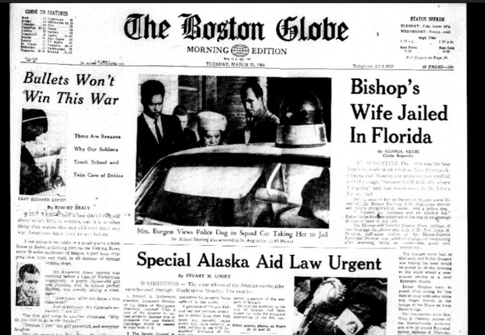 The front page of the Boston Globe carried news from the protest in Florida.
