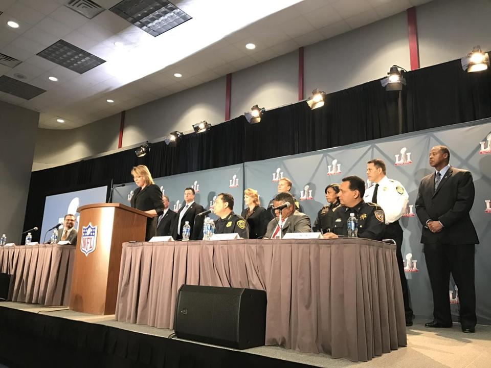 Security officials hold a press conference ahead of Super Bowl LI.