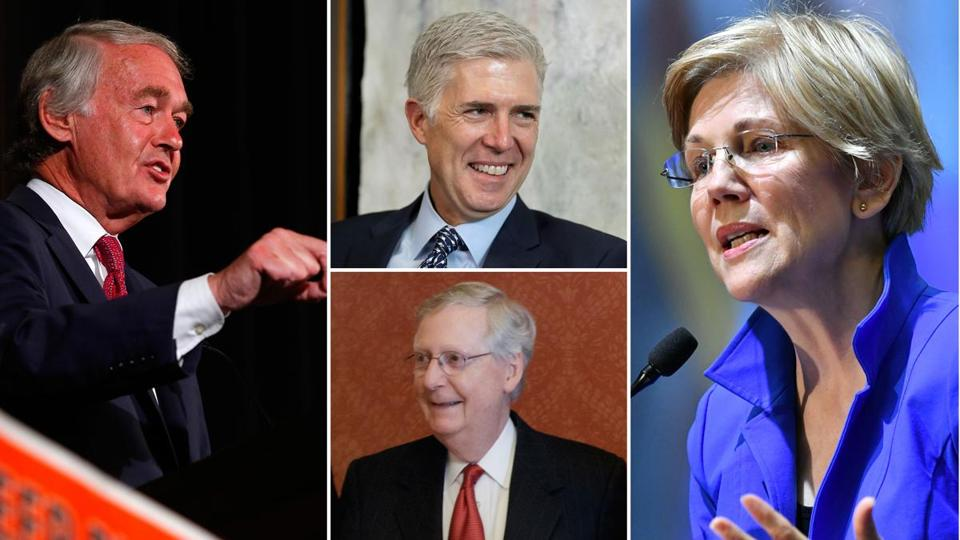 Senator Edward Markey (left) and Senator Elizabeth Warren (right) are joining Majority Leader Mitch McConnell's (bottom center) dare to use the 'nuclear option' in confirming Donald Trump's Supreme Court nominee Neil Gorsuch (top center).