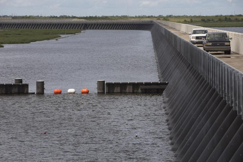 After Hurricane Katrina, the federal government built a 1.8-mile barrier along Lake Borgne, a lagoon of the Gulf of Mexico.