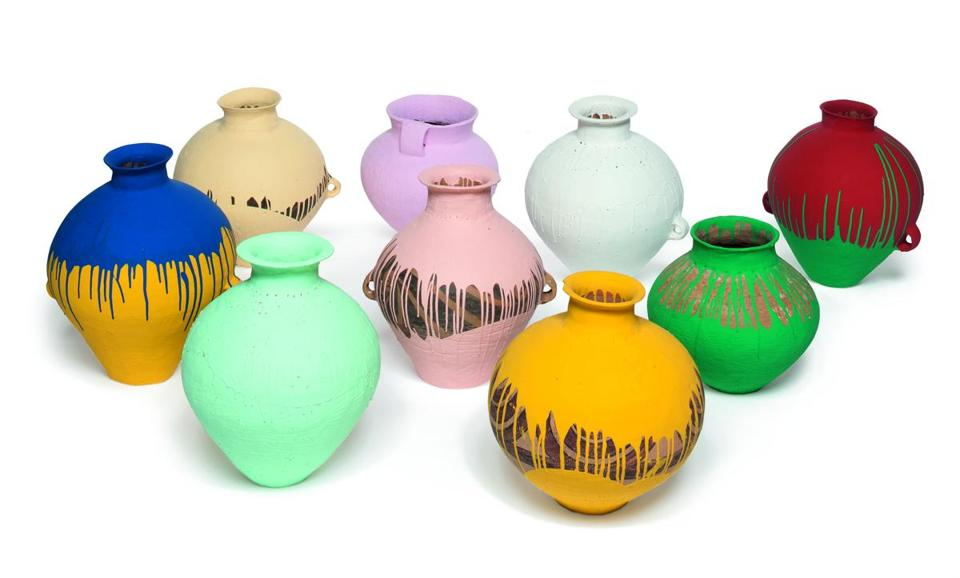 "Ai Weiwei's ""Colored Vases 2006-2008,"" part of the gift."