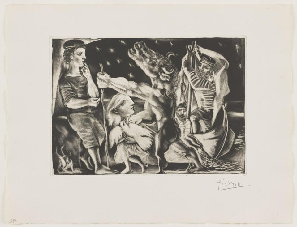 04colby / Lunder Collection Images / Pablo Picasso, Blind Minataur Led by a Little Girl in the Night, 1934