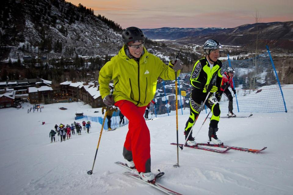 Skiers at the Aspen Highlands in Colorado during a ski mountaineering race.