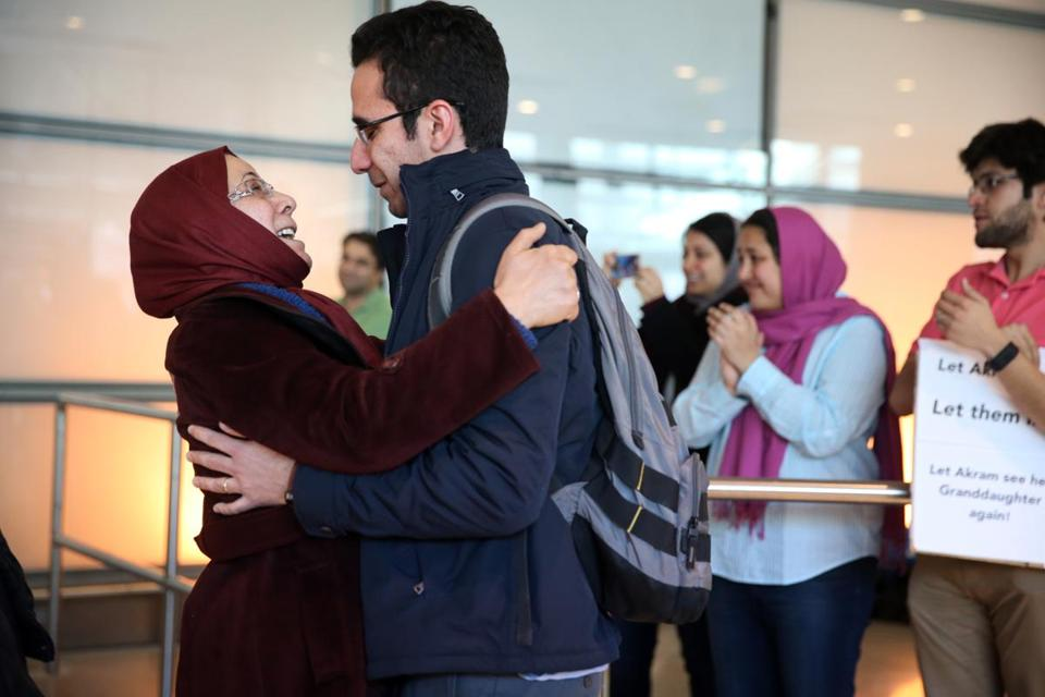 Moshen greeted his mother Kefayat as she arrived on a flight from Iran at Logan International Airport on Saturday.