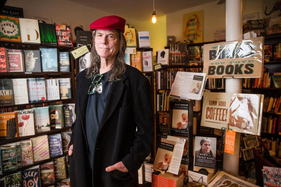 "Boston rocker Rick Berlin at Papercuts J.P., whose in-house imprint published his memoir, ""The Paragraphs."""