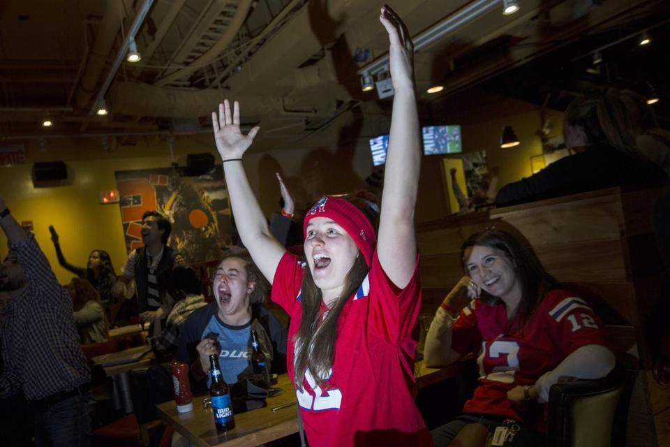Boston, MA - 2/5/2017 - New England Patriots fans react to a first down as they watch the fourth quarter of SuperBowl 51 between the Patriots and the Atlanta Falcons at the bar Game On in Boston, MA, February 5, 2017. (Keith Bedford/Globe Staff)