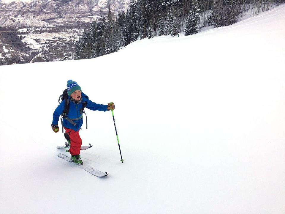 Luke Bass climbed up the lower flanks of Aspen Highlands in Colorado.