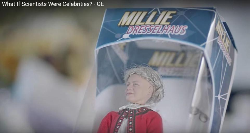 A screenshot of a Millie Dresselhaus doll from a new ad by General Electric.