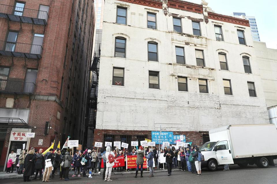 Boston, MA--2/8/2017 - People protest a proposed 26-story hotel in Chinatown, at 25 Harrison Avenue. Photo by Pat Greenhouse/Globe Staff Topic: 09chinatown Reporter: Katheleen Conti