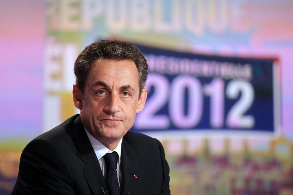 (FILES) This file photo taken on April 25, 2012 in Boulogne-Billancourt, near Paris, shows former French president, Nicolas Sarkozy waiting before a prime time evening news broadcast at the TF1 Television studios as part of his campaign for the 2012 presidential election. Former French president Nicolas Sarkozy is to face trial over the allegedly fraudulent financing of his doomed 2012 bid for re-election, a legal source told AFP on February 7, 2017. Sarkozy's lawyer, Thierry Herzog, said he will appeal the judge's decision. / AFP PHOTO / POOL / CHARLES PLATIAUCHARLES PLATIAU/AFP/Getty Images