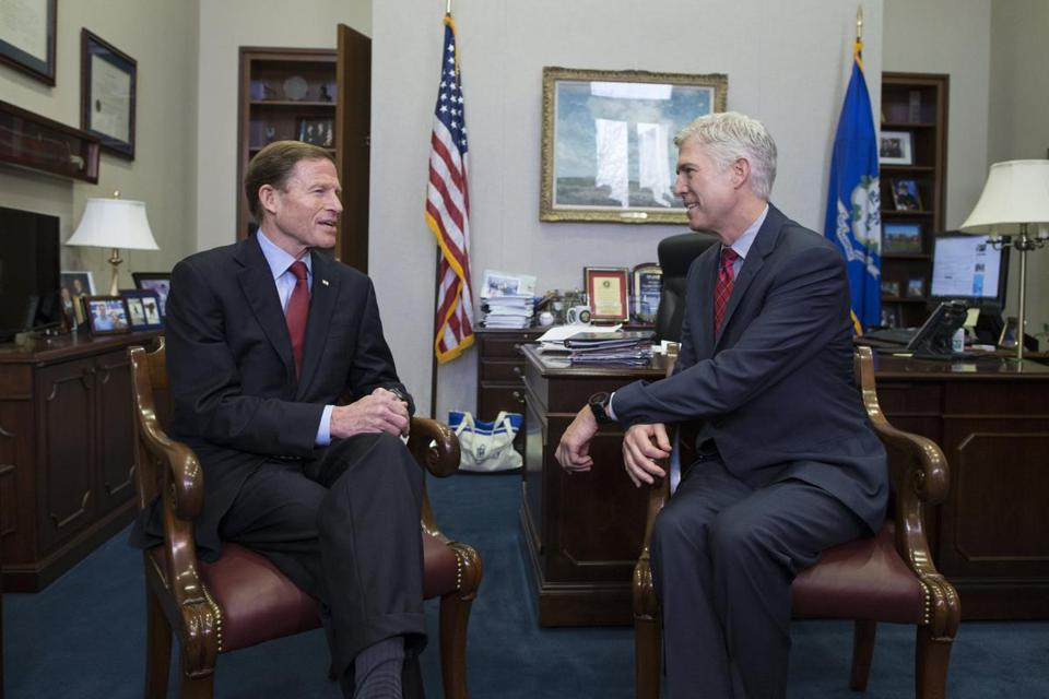 Supreme Court nominee Judge Neil Gorsuch (right) spoke with US Senator Richard Blumenthal.