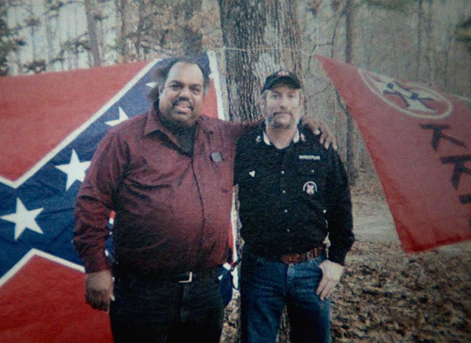 "Daryl Davis (left) and Frank Ancona at a KKK event in ""Accidental Courtesy."""
