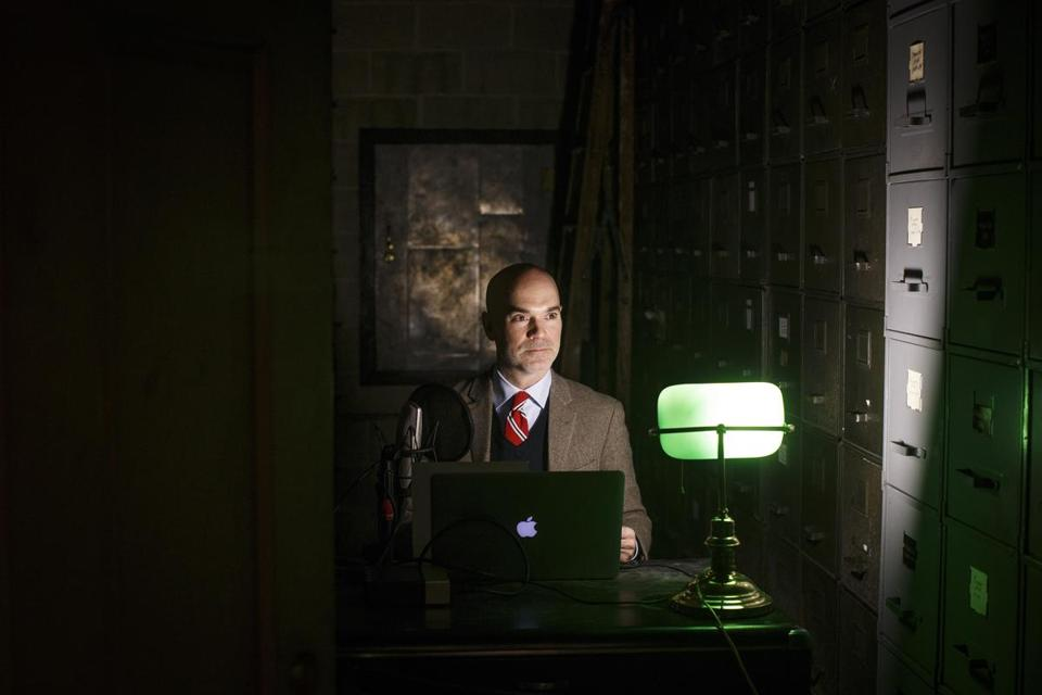 Springfield, MA - 2/8/2017 - Merriam-Webster editor-at-large Peter Sokolowski poses for a portrait in the dictionary company's vault where he records its' word of the day podcast in Springfield, MA, February 8, 2017. (Keith Bedford/Globe Staff)