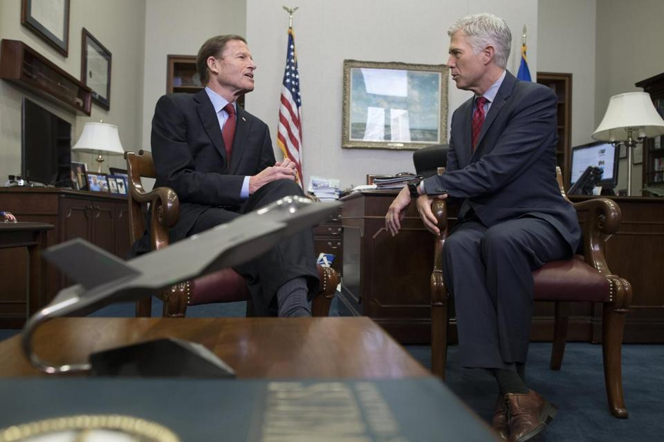 epa05778951 Supreme Court nominee Judge Neil Gorsuch (R) meets with Democratic Senator from Connecticut Richard Blumenthal (L), on Capitol Hill in Washington, DC, USA, 08 February 2017. Judge Gorsuch was nominated to the Supreme Court by US President Donald J. Trump to replace the late Antonin Scalia. EPA/MICHAEL REYNOLDS