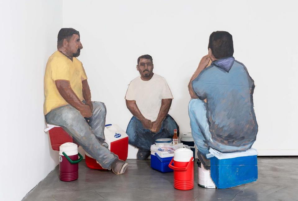 "Ramiro Gomez's ""Laborers at Lunch,"" 2015 mixed media installation."