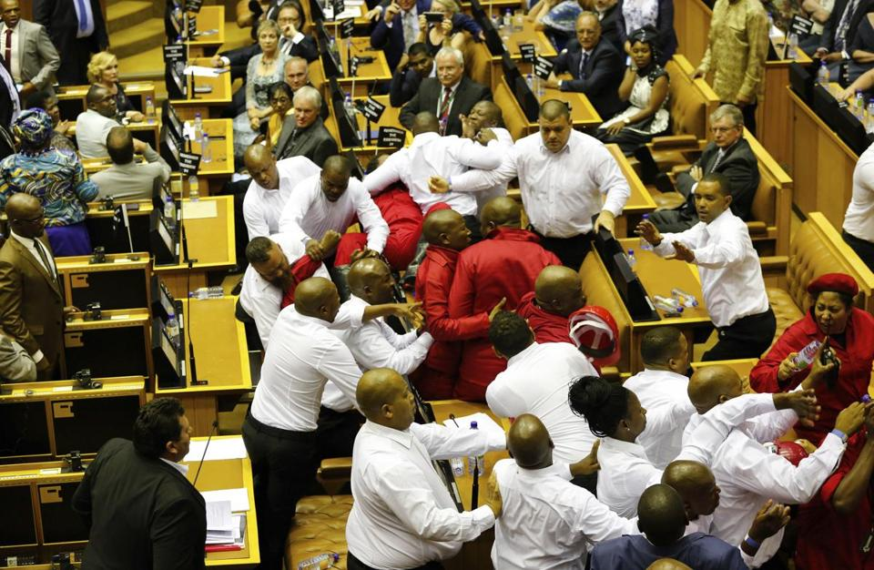 Image result for chaos in south african parliament