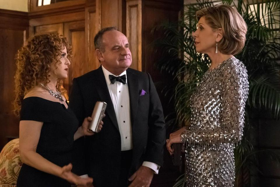 "Bernadette Peters (left), Paul Guilfoyle, and Christine Baranski in ""The Good Fight."""