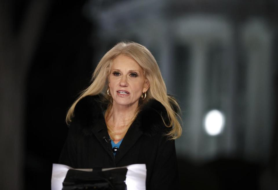 Counselor to President Donald Trump Kellyanne Conway speaks during a television interview with the White House in the background, in Washington, Thursday, Feb. 9, 2017, about the Federal appeals court refusal to reinstate President Donald Trump's travel ban. (AP Photo/)