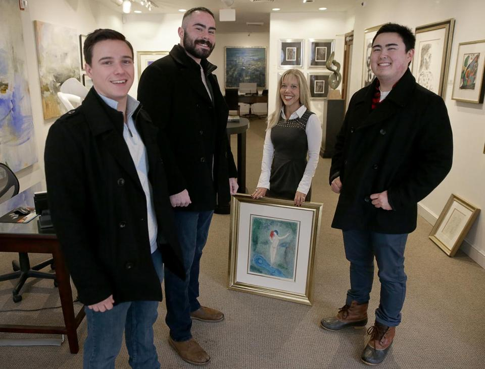 From left: Chris Savino, Mackenzie Thompson, gallery co-owner Sallie Hirshberg, and Jesse Doe.