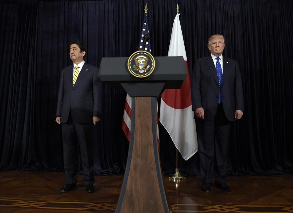 President Trump (right) and Japanese Prime Minister Shinzo Abe made comments late Saturday in Palm Beach, Fla., after the missile launch happened.