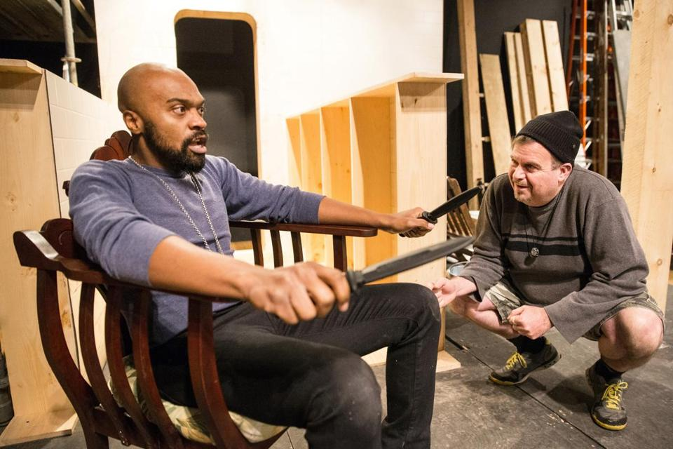 "Maurice Emmanuel Parent (left) and director David Gammons during rehearsal for ""Edward II"" by the Actors' Shakespeare Project."